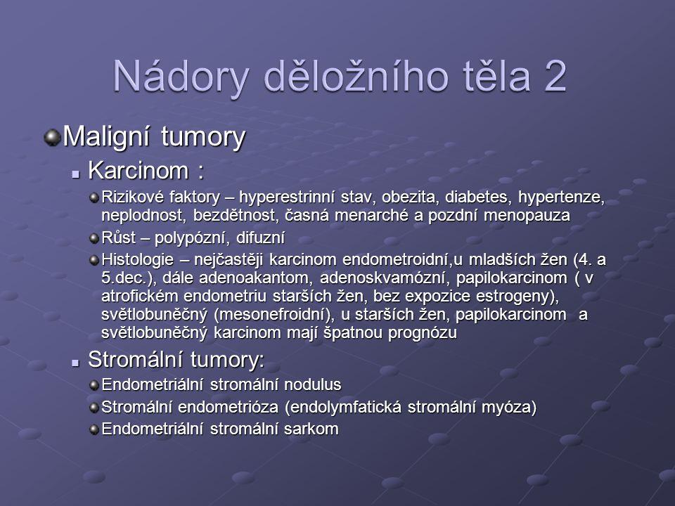 Maligní tumory Karcinom : Karcinom : Rizikové faktory – hyperestrinní stav, obezita, diabetes, hypertenze, neplodnost, bezdětnost, časná menarché a pozdní menopauza Růst – polypózní, difuzní Histologie – nejčastěji karcinom endometroidní,u mladších žen (4.