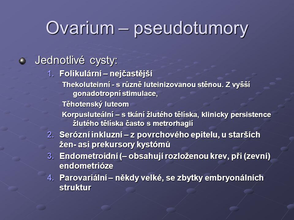 Ovarium – pseudotumory Jednotlivé cysty: 1.Folikulární – nejčastější Thekoluteinní - s různě luteinizovanou stěnou.