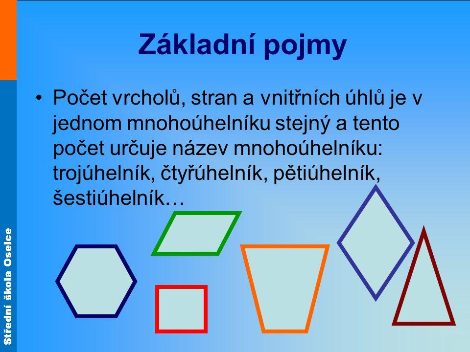 Střední škola Oselce Základní pojmy Počet vrcholů, stran a vnitřních úhlů je v jednom mnohoúhelníku stejný a tento počet určuje název mnohoúhelníku: trojúhelník, čtyřúhelník, pětiúhelník, šestiúhelník…