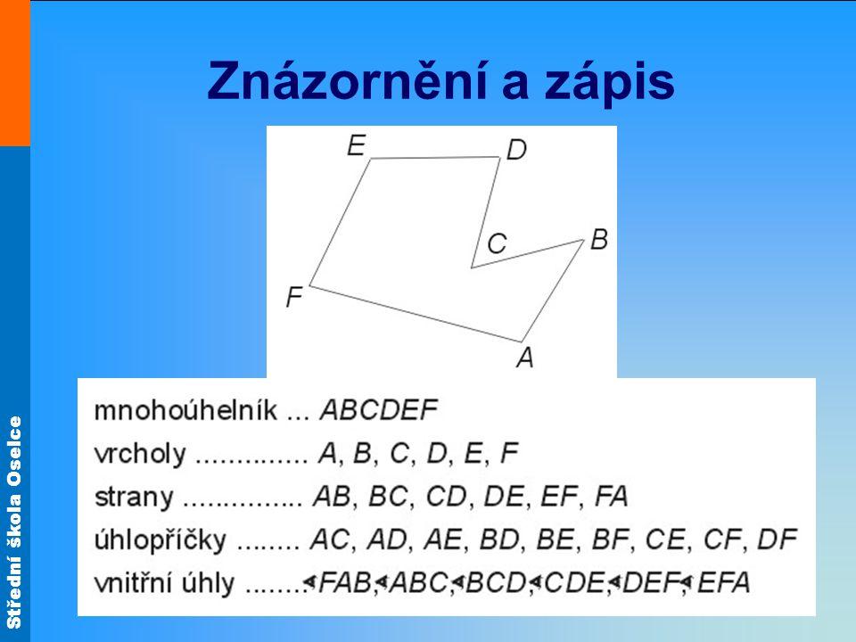 Střední škola Oselce Druhy mnohoúhelníků Pravidelné - všechny strany i vnitřní úhly jsou shodné Nepravidelné - Konvexní - všechny vnitřní úhly jsou menší než 180° - Nekonvexní - alespoň jeden vnitřní úhel je větší než 180° Pravoúhelníky - všechny vnitřní úhly jsou pravé, příp.