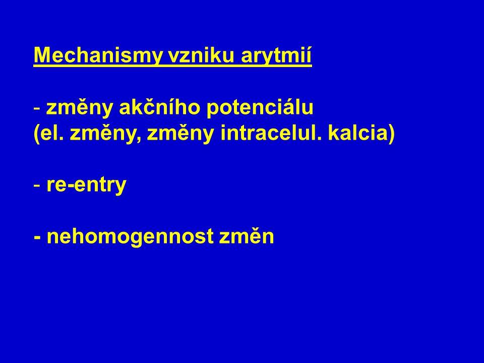 Mechanismy vzniku arytmií - změny akčního potenciálu (el.
