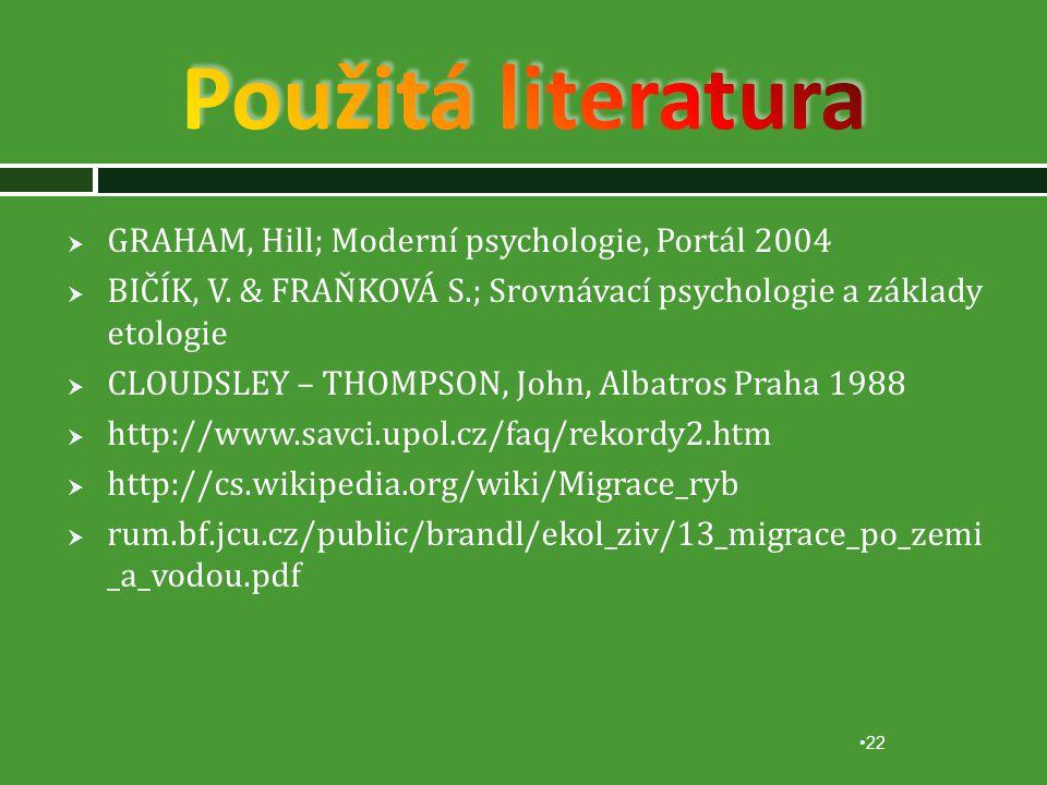  GRAHAM, Hill; Moderní psychologie, Portál 2004  BIČÍK, V.