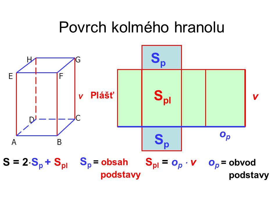 Povrch kolmého hranolu v A E HG F D C B Plášť SpSp SpSp S pl S = 2  S p + S pl v opop S p = obsah podstavy S pl = o p  v o p = obvod podstavy