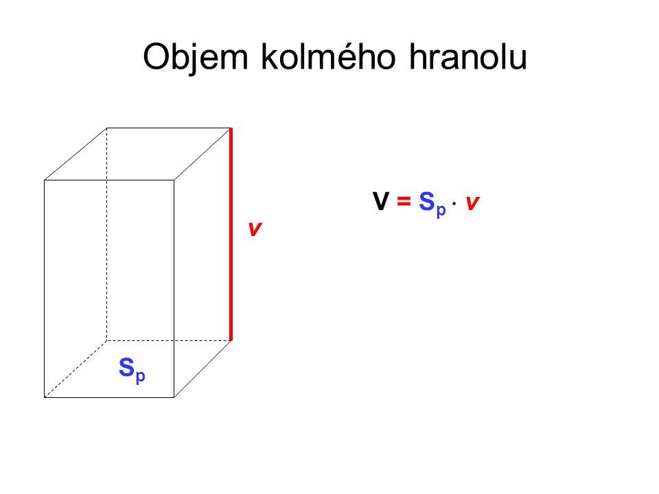 Objem kolmého hranolu V = S p  v v SpSp