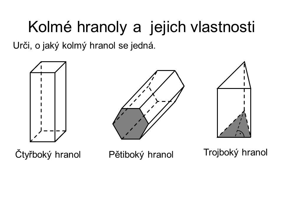 Kolmé hranoly a jejich vlastnosti Čtyřboký hranolPětiboký hranol Trojboký hranol Urči, o jaký kolmý hranol se jedná.
