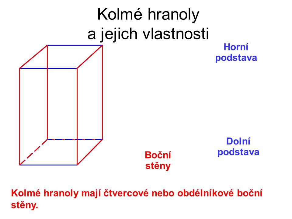 Horní podstava Dolní podstava Boční stěny Kolmé hranoly a jejich vlastnosti Kolmé hranoly mají čtvercové nebo obdélníkové boční stěny.
