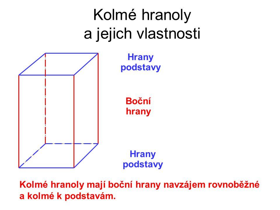 Hrany podstavy Kolmé hranoly a jejich vlastnosti Hrany podstavy Boční hrany Kolmé hranoly mají boční hrany navzájem rovnoběžné a kolmé k podstavám.