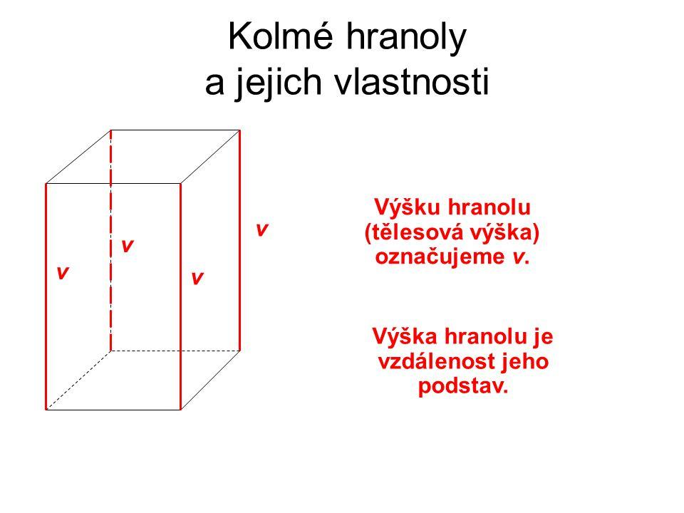 Kolmé hranoly a jejich vlastnosti Výšku hranolu (tělesová výška) označujeme v. v v v v Výška hranolu je vzdálenost jeho podstav.
