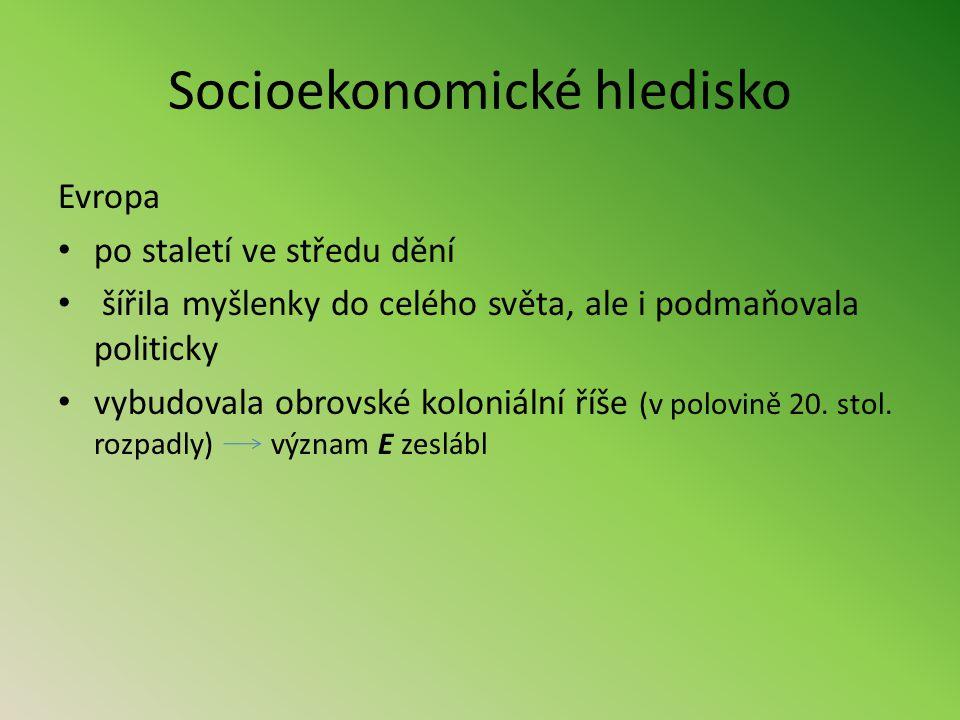 Socioekonomické hledisko Historie v Evropě mnohdy protichůdné směry (slučování území ve velké říše x rozdělování velkých celků na malé národnostní státy) 1.pol.