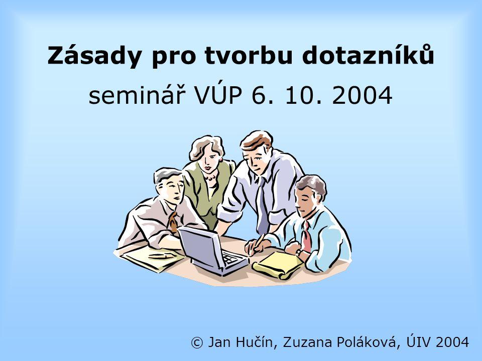 Chyby při tvorbě otázek © Jan Hučín, Zuzana Poláková, ÚIV 2004 kategorie se překrývají Komunikace se školou je: a) vždy dobrá b) občas nedobrá c) někdy nedobrá d) vždy nedobrá zjišťuji vše najednou Jak by měla vypadat výuka žáků na vaší škole.