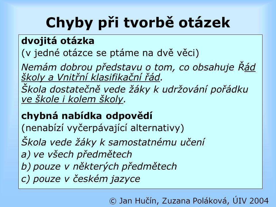 Chyby při tvorbě otázek © Jan Hučín, Zuzana Poláková, ÚIV 2004 dvojitá otázka (v jedné otázce se ptáme na dvě věci) Nemám dobrou představu o tom, co o