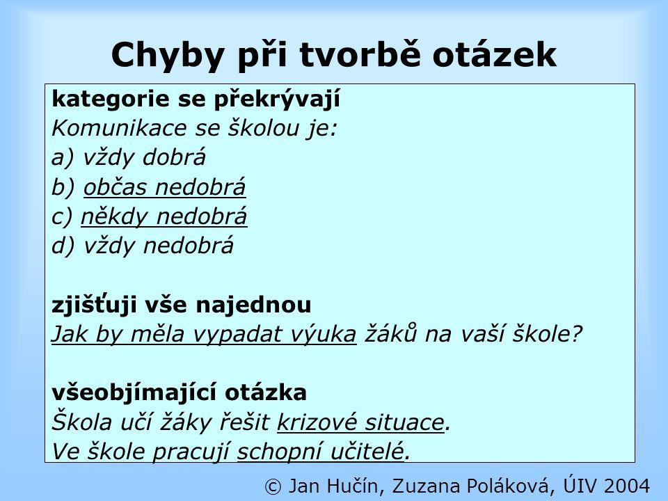 Chyby při tvorbě otázek © Jan Hučín, Zuzana Poláková, ÚIV 2004 kategorie se překrývají Komunikace se školou je: a) vždy dobrá b) občas nedobrá c) někd
