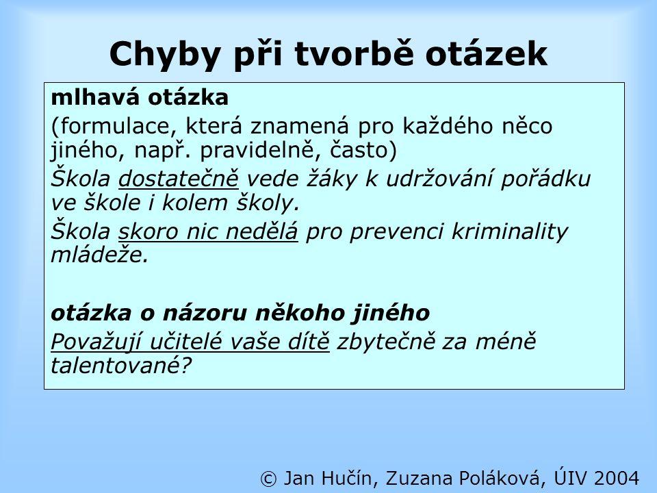 Chyby při tvorbě otázek © Jan Hučín, Zuzana Poláková, ÚIV 2004 mlhavá otázka (formulace, která znamená pro každého něco jiného, např. pravidelně, čast