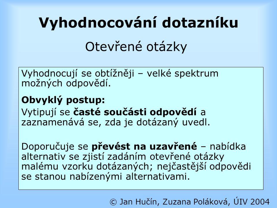 Vyhodnocování dotazníku © Jan Hučín, Zuzana Poláková, ÚIV 2004 Vyhodnocují se obtížněji – velké spektrum možných odpovědí. Obvyklý postup: Vytipují se