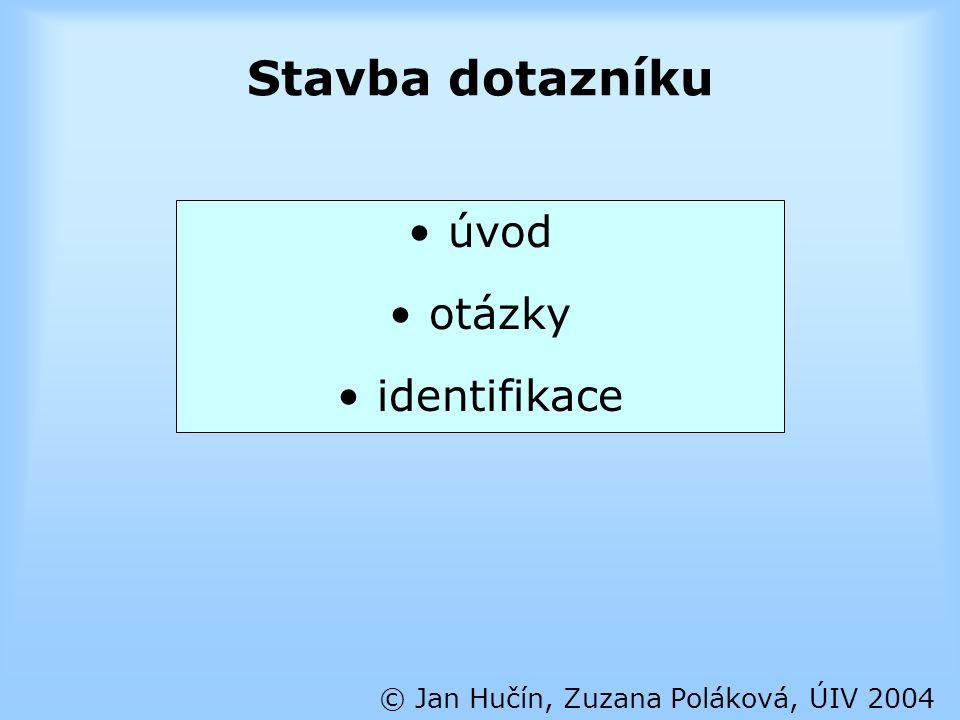 Úvod dotazníku © Jan Hučín, Zuzana Poláková, ÚIV 2004 krátký úvod do problematiky kdo a proč dotazník zadává informace o zachování anonymity