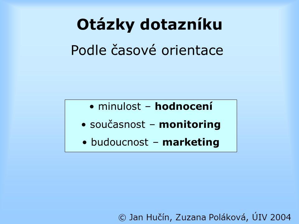 Otázky dotazníku © Jan Hučín, Zuzana Poláková, ÚIV 2004 Podle časové orientace minulost – hodnocení současnost – monitoring budoucnost – marketing