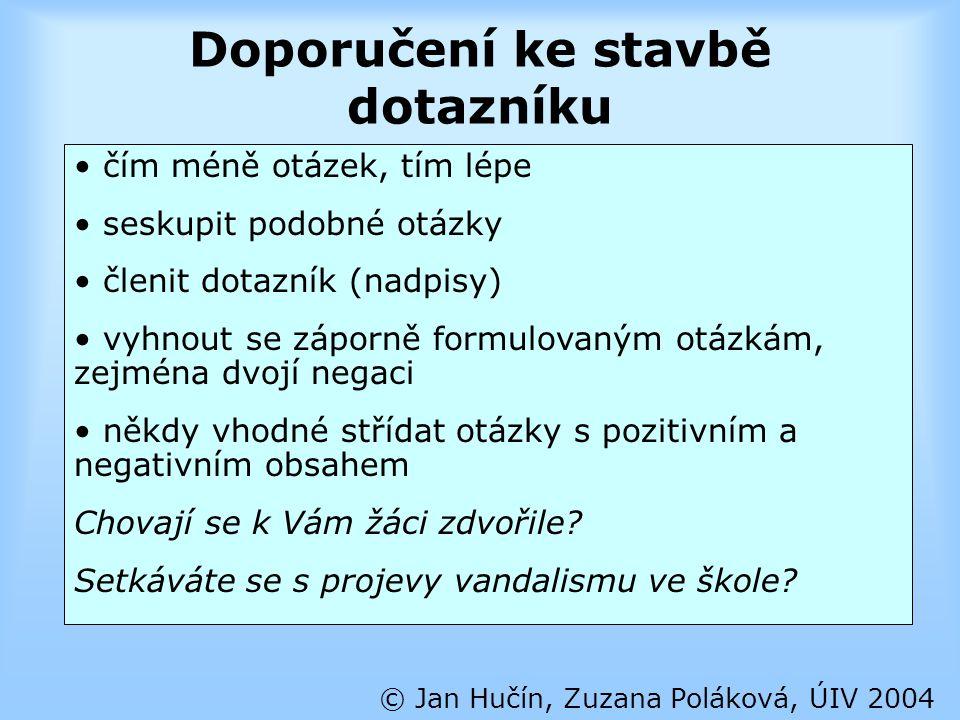 Doporučení ke stavbě dotazníku © Jan Hučín, Zuzana Poláková, ÚIV 2004 čím méně otázek, tím lépe seskupit podobné otázky členit dotazník (nadpisy) vyhn