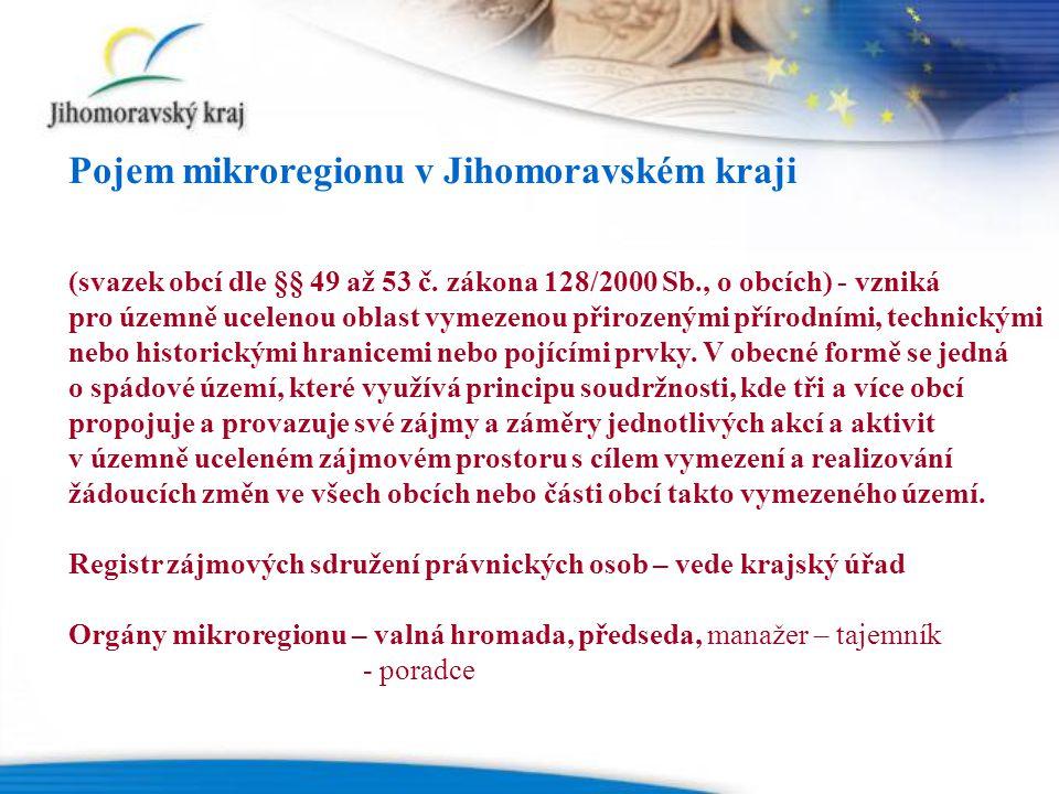 Přímá finanční podpora Jihomoravského kraje projektů mikroregionů Dotační program podpora rozvoje mikroregionů v Jihomoravském kraji 2009/2010 (projektová dokumentace a projektové žádosti) Oblast podporyPočet dotacíVýše dotací Poradenství a vzdělávání4183 000 Kč Životní prostředí4 350 000 Kč Cestovní ruch10 760 000 Kč Cyklostezky7550 000 Kč Vzdělávání - LZ3183 000 Kč Podnikání1100 000 Kč Celkem 292 126 000 Kč