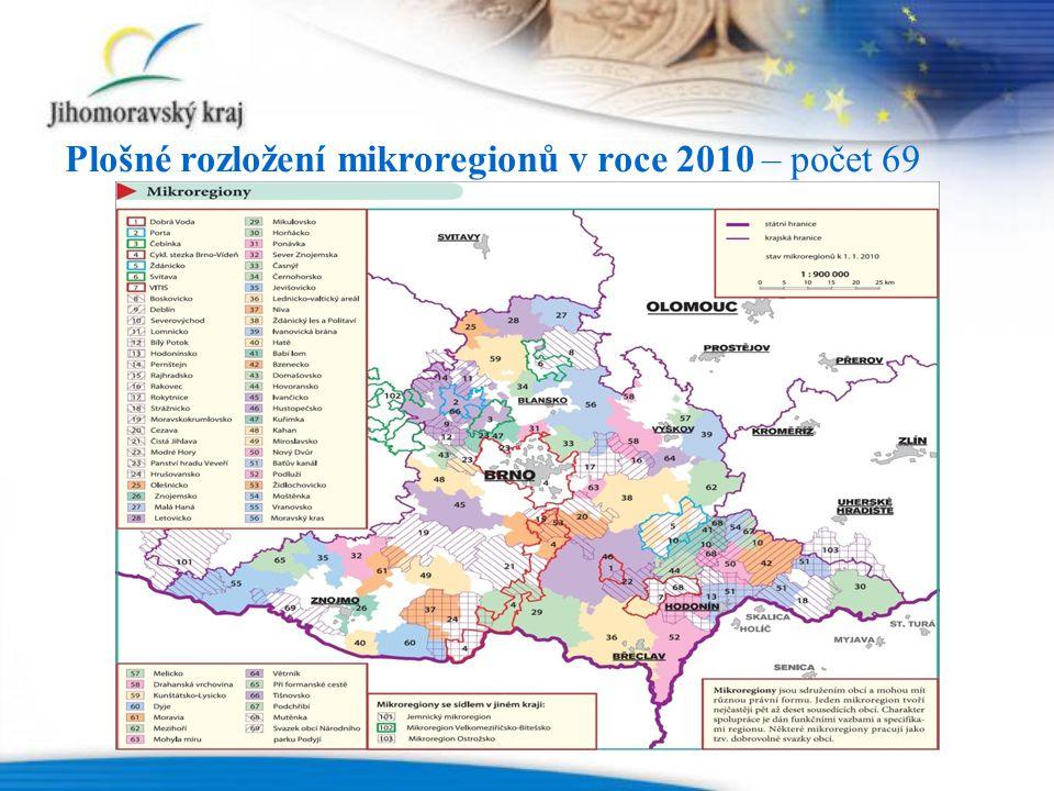 Plošné rozložení mikroregionů v roce 2010 – počet 69