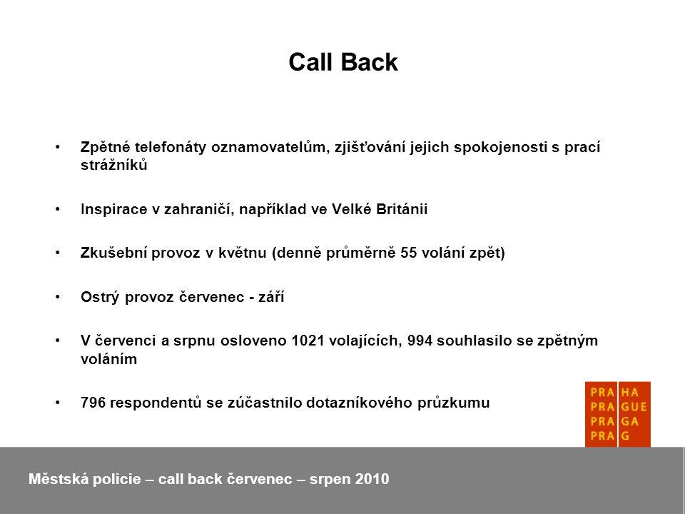 Call Back Zpětné telefonáty oznamovatelům, zjišťování jejich spokojenosti s prací strážníků Inspirace v zahraničí, například ve Velké Británii Zkušební provoz v květnu (denně průměrně 55 volání zpět) Ostrý provoz červenec - září V červenci a srpnu osloveno 1021 volajících, 994 souhlasilo se zpětným voláním 796 respondentů se zúčastnilo dotazníkového průzkumu Městská policie – call back červenec – srpen 2010