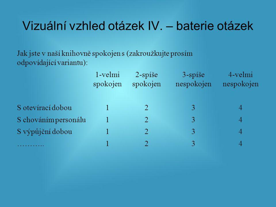 Vizuální vzhled otázek IV.