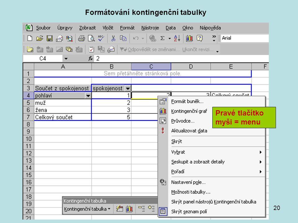20 Formátování kontingenční tabulky Pravé tlačítko myši = menu