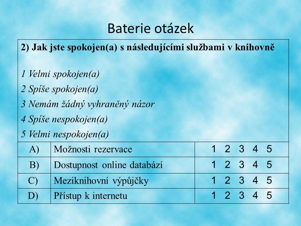Baterie otázek 2) Jak jste spokojen(a) s následujícími službami v knihovně 1 Velmi spokojen(a) 2 Spíše spokojen(a) 3 Nemám žádný vyhraněný názor 4 Spíše nespokojen(a) 5 Velmi nespokojen(a) A)Možnosti rezervace 1 2 3 4 5 B)Dostupnost online databází 1 2 3 4 5 C) Meziknihovní výpůjčky 1 2 3 4 5 D) Přístup k internetu 1 2 3 4 5