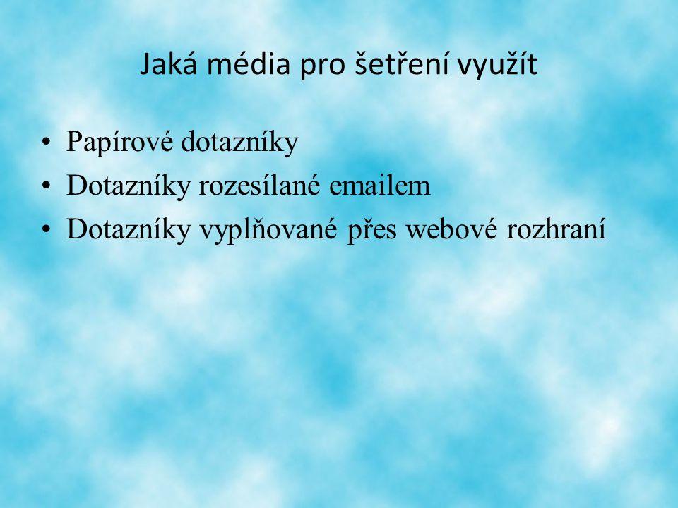 Jaká média pro šetření využít Papírové dotazníky Dotazníky rozesílané emailem Dotazníky vyplňované přes webové rozhraní