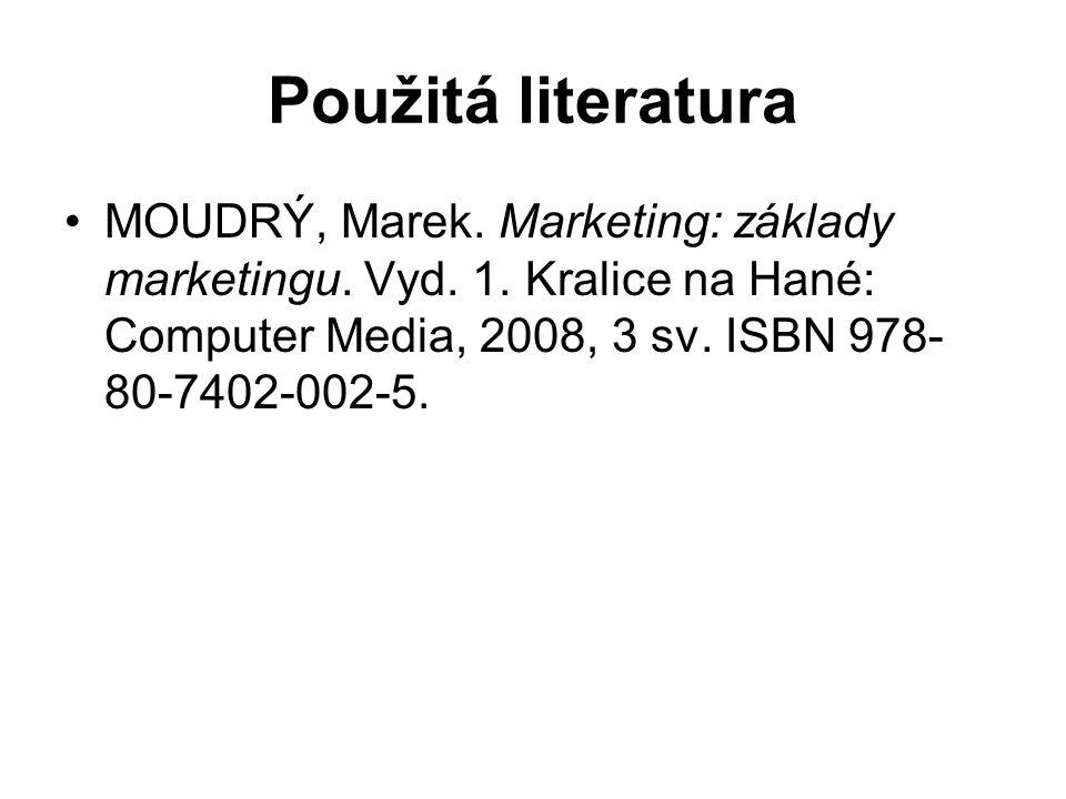 Použitá literatura MOUDRÝ, Marek. Marketing: základy marketingu. Vyd. 1. Kralice na Hané: Computer Media, 2008, 3 sv. ISBN 978- 80-7402-002-5.