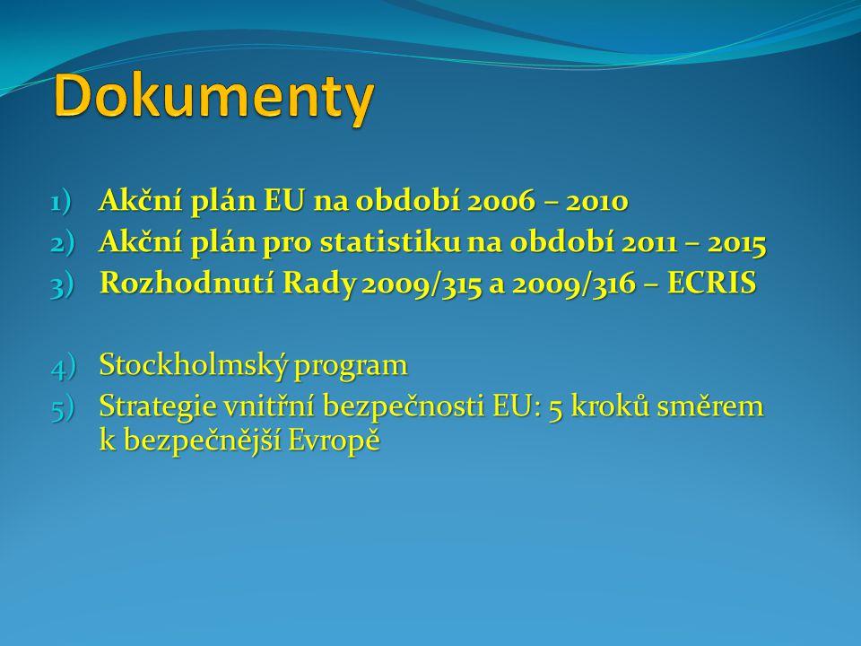 1) Akční plán EU na období 2006 – 2010 2) Akční plán pro statistiku na období 2011 – 2015 3) Rozhodnutí Rady 2009/315 a 2009/316 – ECRIS 4) Stockholmský program 5) Strategie vnitřní bezpečnosti EU: 5 kroků směrem k bezpečnější Evropě