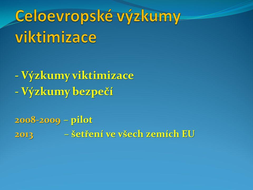 - Výzkumy viktimizace - Výzkumy bezpečí 2008-2009 – pilot 2013 – šetření ve všech zemích EU