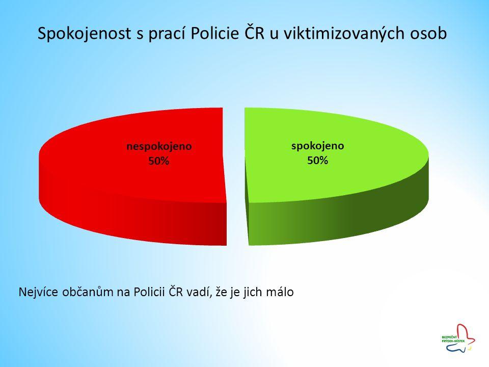 Spokojenost s prací Policie ČR u viktimizovaných osob Nejvíce občanům na Policii ČR vadí, že je jich málo