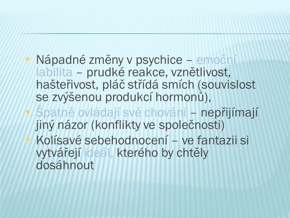 Nápadné změny v psychice – emoční labilita – prudké reakce, vznětlivost, hašteřivost, pláč střídá smích (souvislost se zvýšenou produkcí hormonů), Špa