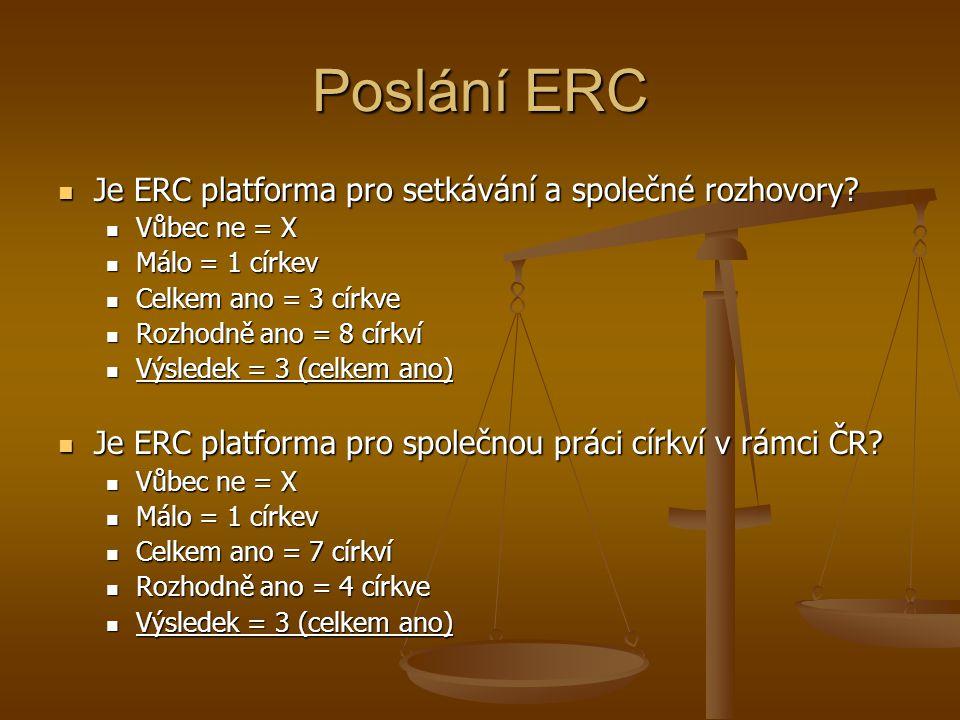 Poslání ERC Je ERC platforma pro setkávání a společné rozhovory.
