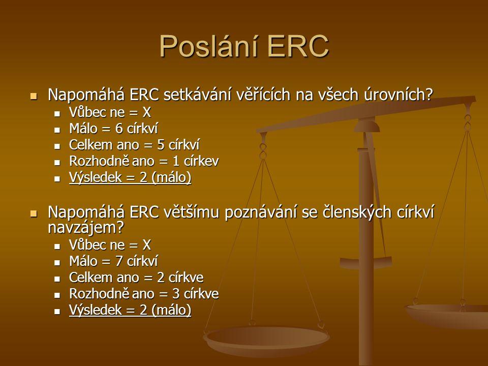 Poslání ERC Napomáhá ERC setkávání věřících na všech úrovních.