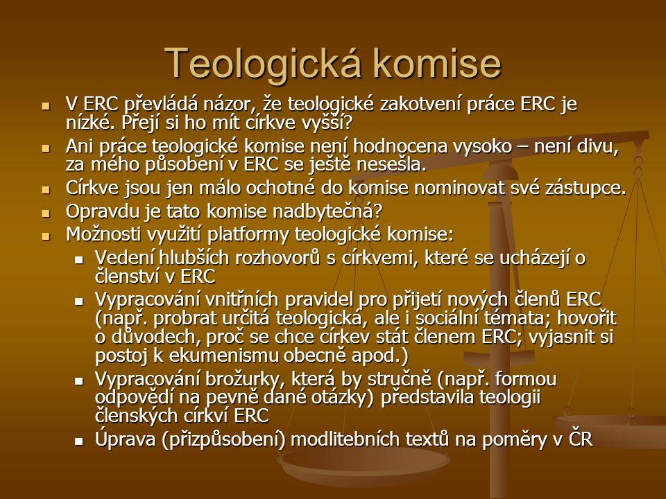 Teologická komise V ERC převládá názor, že teologické zakotvení práce ERC je nízké.