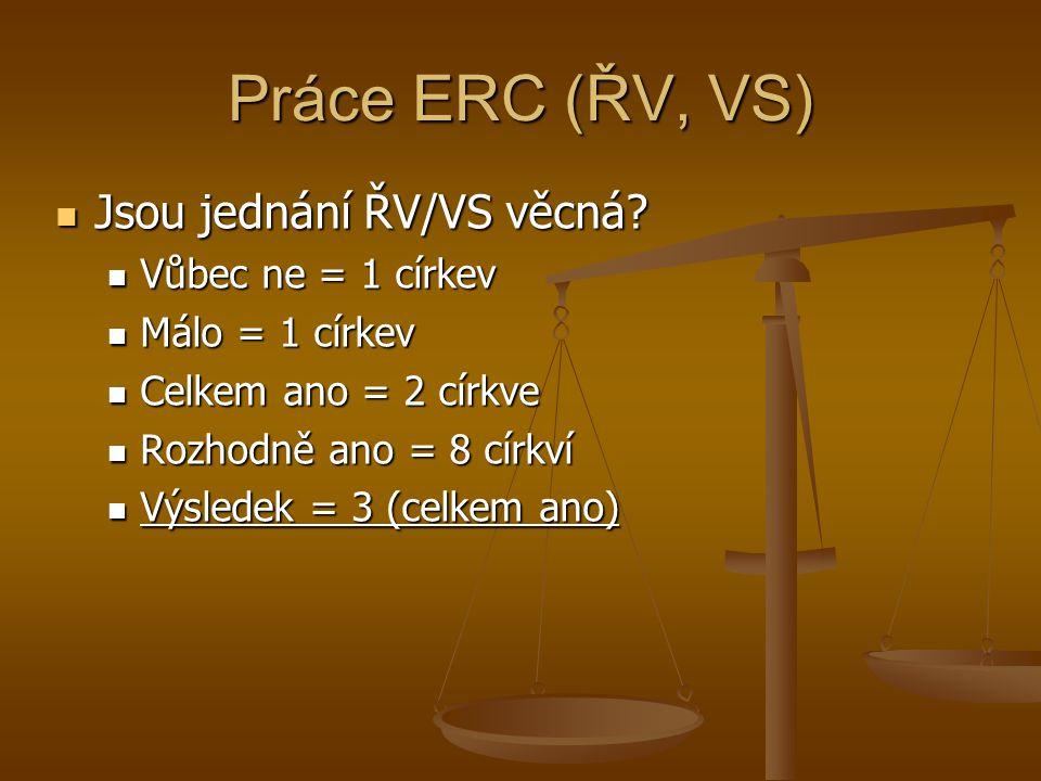 Práce ERC (ŘV, VS) Jsou jednání ŘV/VS věcná. Jsou jednání ŘV/VS věcná.