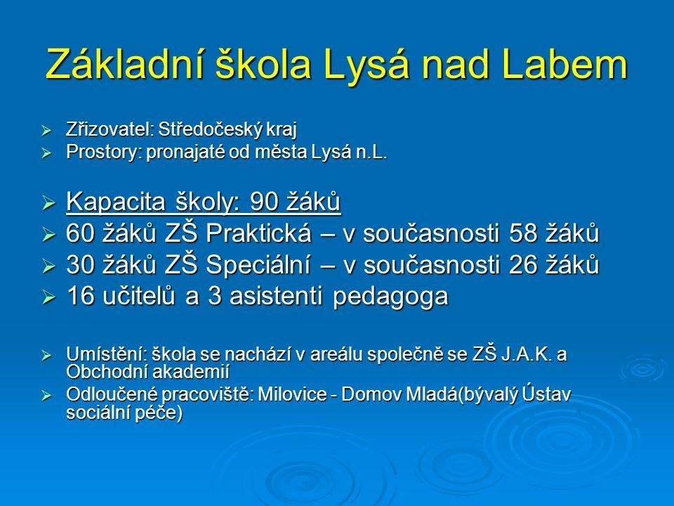 Základní škola Lysá nad Labem  Zřizovatel: Středočeský kraj  Prostory: pronajaté od města Lysá n.L.