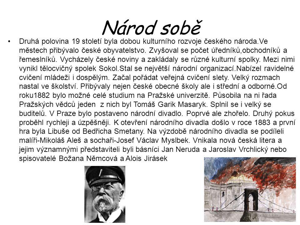 Národ sobě Druhá polovina 19 století byla dobou kulturního rozvoje českého národa.Ve městech přibývalo české obyvatelstvo. Zvyšoval se počet úředníků,