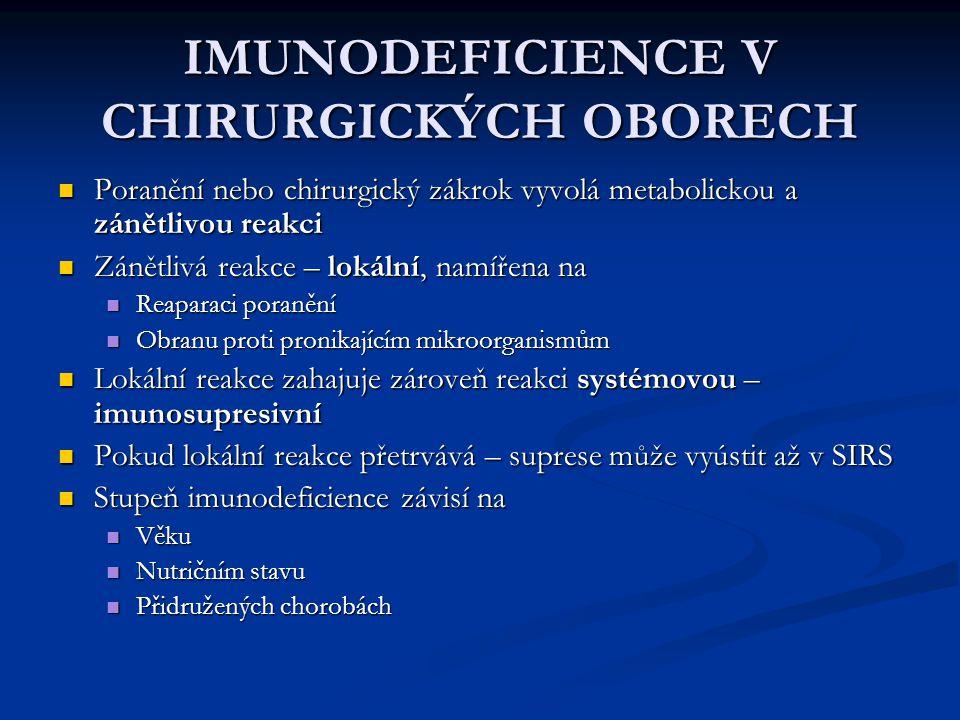 IMUNODEFICIENCE V CHIRURGICKÝCH OBORECH Poranění nebo chirurgický zákrok vyvolá metabolickou a zánětlivou reakci Poranění nebo chirurgický zákrok vyvo