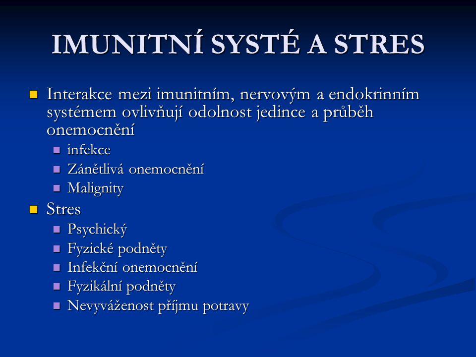 IMUNITNÍ SYSTÉ A STRES Interakce mezi imunitním, nervovým a endokrinním systémem ovlivňují odolnost jedince a průběh onemocnění Interakce mezi imunitn