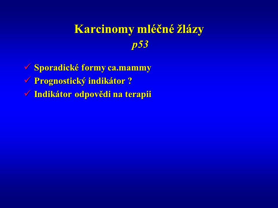 Karcinomy mléčné žlázy p53 Sporadické formy ca.mammy Sporadické formy ca.mammy Prognostický indikátor ? Prognostický indikátor ? Indikátor odpovědi na