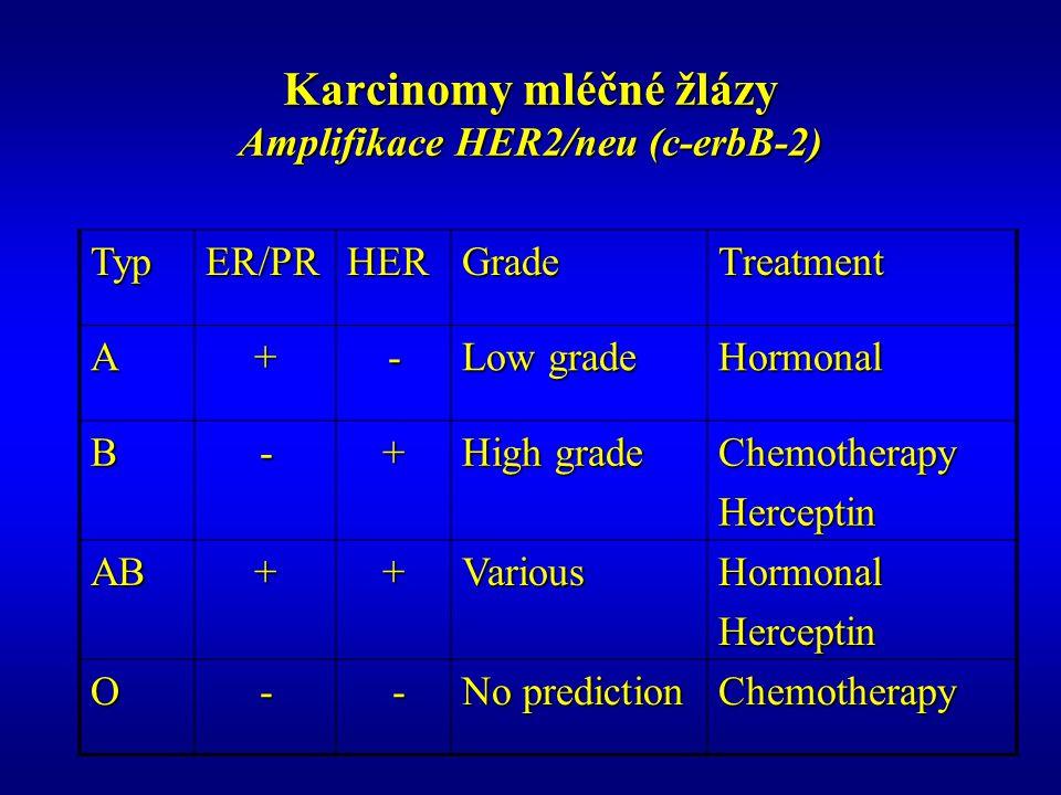 Karcinomy mléčné žlázy Amplifikace HER2/neu (c-erbB-2) TypER/PRHERGradeTreatment A+- Low grade Hormonal B-+ High grade ChemotherapyHerceptin AB++VariousHormonalHerceptin O- - No prediction Chemotherapy