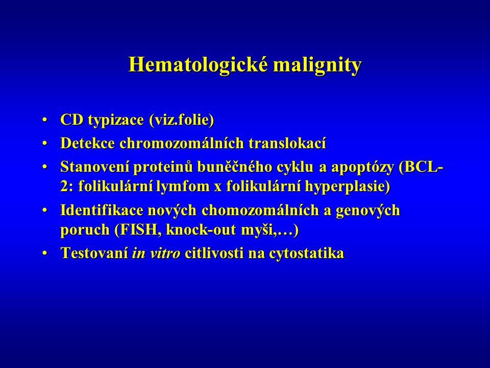 Hematologické malignity CD typizace (viz.folie)CD typizace (viz.folie) Detekce chromozomálních translokacíDetekce chromozomálních translokací Stanovení proteinů buněčného cyklu a apoptózy (BCL- 2: folikulární lymfom x folikulární hyperplasie)Stanovení proteinů buněčného cyklu a apoptózy (BCL- 2: folikulární lymfom x folikulární hyperplasie) Identifikace nových chomozomálních a genových poruch (FISH, knock-out myši,…)Identifikace nových chomozomálních a genových poruch (FISH, knock-out myši,…) Testovaní in vitro citlivosti na cytostatikaTestovaní in vitro citlivosti na cytostatika