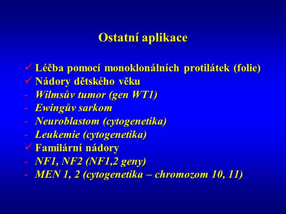 Ostatní aplikace Léčba pomocí monoklonálních protilátek (folie) Léčba pomocí monoklonálních protilátek (folie) Nádory dětského věku Nádory dětského věku -Wilmsův tumor (gen WT1) -Ewingův sarkom -Neuroblastom (cytogenetika) -Leukemie (cytogenetika) Familární nádory Familární nádory -NF1, NF2 (NF1,2 geny) -MEN 1, 2 (cytogenetika – chromozom 10, 11)