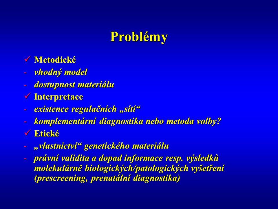 """Problémy Metodické Metodické -vhodný model -dostupnost materiálu Interpretace Interpretace -existence regulačních """"sítí -komplementární diagnostika nebo metoda volby."""