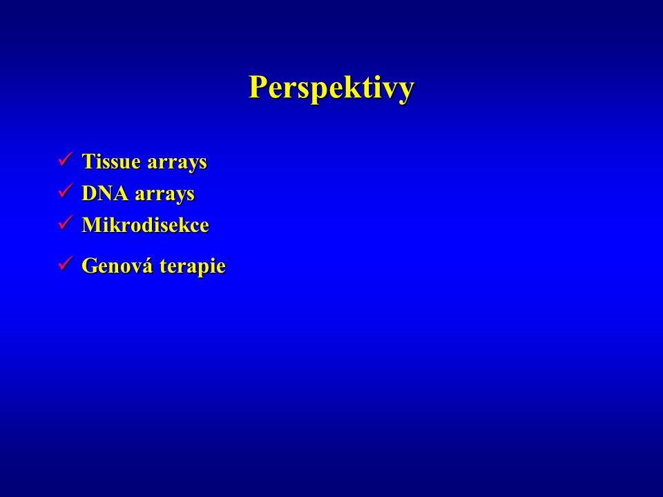 Perspektivy Tissue arrays Tissue arrays DNA arrays DNA arrays Mikrodisekce Mikrodisekce Genová terapie Genová terapie