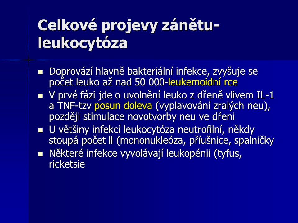 Celkové projevy zánětu- leukocytóza Doprovází hlavně bakteriální infekce, zvyšuje se počet leuko až nad 50 000-leukemoidní rce Doprovází hlavně bakteriální infekce, zvyšuje se počet leuko až nad 50 000-leukemoidní rce V prvé fázi jde o uvolnění leuko z dřeně vlivem IL-1 a TNF-tzv posun doleva (vyplavování zralých neu), později stimulace novotvorby neu ve dřeni V prvé fázi jde o uvolnění leuko z dřeně vlivem IL-1 a TNF-tzv posun doleva (vyplavování zralých neu), později stimulace novotvorby neu ve dřeni U většiny infekcí leukocytóza neutrofilní, někdy stoupá počet ll (mononukleóza, příušnice, spalničky U většiny infekcí leukocytóza neutrofilní, někdy stoupá počet ll (mononukleóza, příušnice, spalničky Některé infekce vyvolávají leukopénii (tyfus, ricketsie Některé infekce vyvolávají leukopénii (tyfus, ricketsie