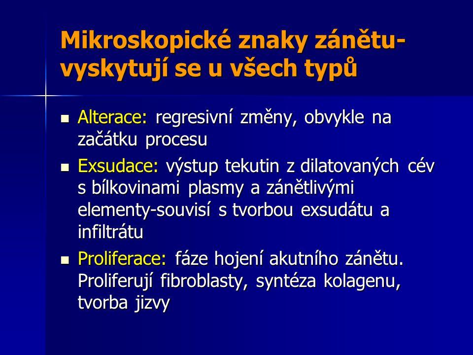 Mikroskopické znaky zánětu- vyskytují se u všech typů Alterace: regresivní změny, obvykle na začátku procesu Alterace: regresivní změny, obvykle na začátku procesu Exsudace: výstup tekutin z dilatovaných cév s bílkovinami plasmy a zánětlivými elementy-souvisí s tvorbou exsudátu a infiltrátu Exsudace: výstup tekutin z dilatovaných cév s bílkovinami plasmy a zánětlivými elementy-souvisí s tvorbou exsudátu a infiltrátu Proliferace: fáze hojení akutního zánětu.