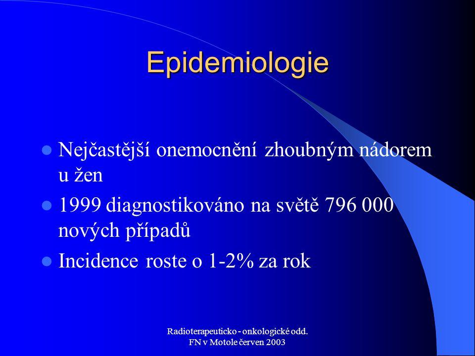 Radioterapeuticko - onkologické odd. FN v Motole červen 2003 Epidemiologie Nejčastější onemocnění zhoubným nádorem u žen 1999 diagnostikováno na světě